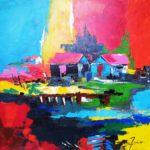Cabane Bleue et Noire Acrylique sur toile 80 x 80 cm