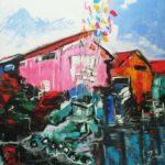 Cabane Rose Acrylique sur toile 90 x 90cm