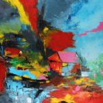 Cabane Rouge Acrylique sur toile 80 x 80 cm