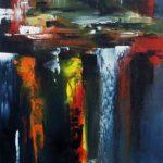 City Huile sur toile 80 x 30 cm
