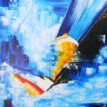 Course en Solitaire Huile sur toile 81 x 65 cm