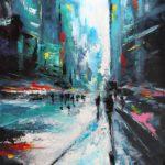 Dans la Cité Acrylique sur toile 92 x 73 cm