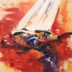 Gite au Crépuscule Huile sur toile 80 x 80 cm