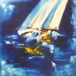 Gite au Crépuscule II Huile sur toile 70 x 70 cm