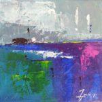 Horizon Abstrait Acrylique 30 x 30 cm