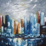 Horizon sur Manhattan Huile sur toile 90 x 90 cm