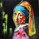 La Jeune Fille à la Perle Acrylique sur toile 80 x 80 cm