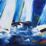 Marine Huile sur toile 80 x 40 cm