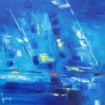 Nuance Bleue huile sur toile 50 x 50 cm