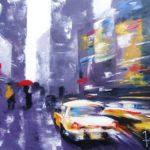 Parapluie Rouge Huile sur toile 92 x 73 cm