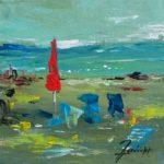 Parasol Rouge Acrylique sur toile 20 x 20 cm