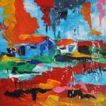 Petites Cabanes II Acrylique sur toile 20 x 20 cm