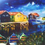 Port des Salines Huile sur toile 70 x 70 cm