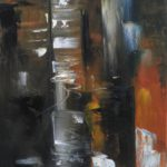 Reflet sur l Hudson Huile sur toile 80 x 30 cm