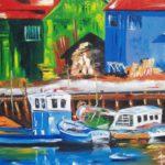 Retour de Pêche Huile sur toile 92 x 73 cm
