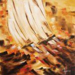Sur la vague huile sur toile 80 x 80 cm
