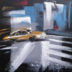 Taxi Huile sur toile 40 x 40 cm
