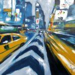 Taxis Jaunes Huile sur toile 92 x 73 cm