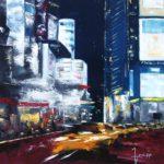 Trafic de Nuit Huile sur toile 80 x 80 cm
