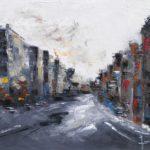 Un-jour dans la Cité Huile sur toile 100 x 81 cm