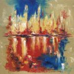 Veille de Départ - Huile sur toile 80 x 80 cm
