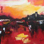 Voyage Imaginaire Rouge Acrylique sur toile 33 x 41 cm