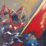 Windsurf Huile sur toile 100 x 81 cm